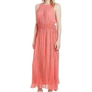 Lewit coral sugar mesh panel tie waist dress 8